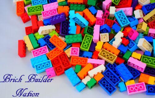 ☀️100 Pc Bulk Lego Lot w//FUN COLORS Lime Medium Blue Orange Bricks Blocks Plates