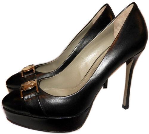 $675 VERSACE Black leather Platform Pumps Gold Logo Medusa Heels Shoes 40