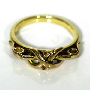 Unusual-Lover-039-s-Knot-9ct-Yellow-Gold-Ring-size-G-US-3-1-2