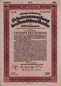 DEUTSCHES-Reich-1937-Berlin-Adler-1000-RM-Reichsschuldenverwaltung-Erste-Folge