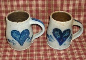~Set of 2 Rowe Pottery Works Salt Glaze Coffee Mugs~1986~Heart~Hand Made~Cups~