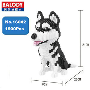 Spielzeug-Gifts-Bausteine-Model-Toy-Balody-Siberian-Husky-Hund-Tier-1900PCS