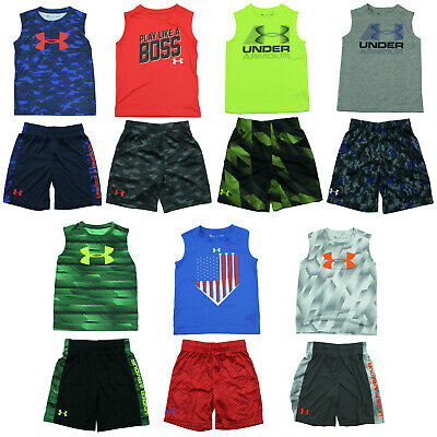 New w// Tags Under Armour Boys 2 Piece Sets T-Shirt Shorts Size 4 5 6 7