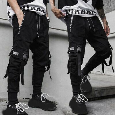 Men/'s Multi Pocket Harem Pants Jogger Trousers Cargo Combat Street Hip-hop Loose