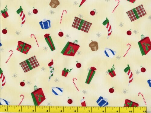Christmas Presents Stockings Candy Canes on Cream Quilting Fabric by Yard  #3007
