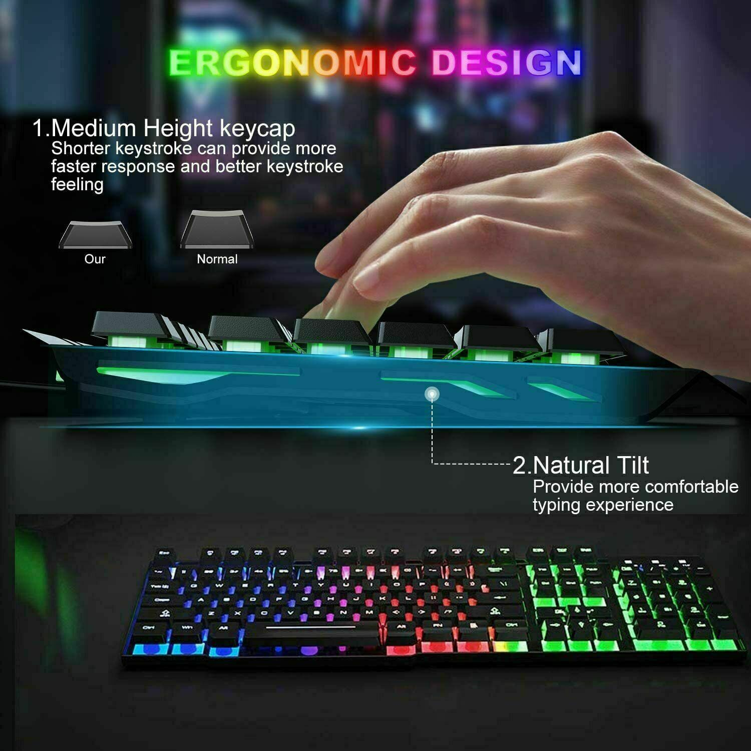 104 Keys Wireless Gaming Keyboard and Mouse Combo Rainbow LED Backlit Mice Games