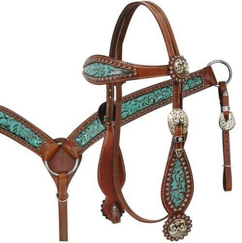 SHOWMAN Bridle & Breast collar Set w TEAL Filigree Print & Antique Conchos  NEW