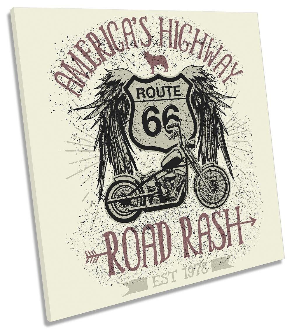 Route 66 Road Rash Motorbike Picture CANVAS WALL ART Square Print