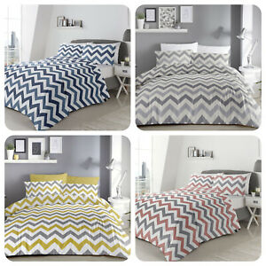 Fusion-Chevron-Stripe-Duvet-Cover-Bedding-Set-Grey-Ochre-Blue-Pink-Reversible
