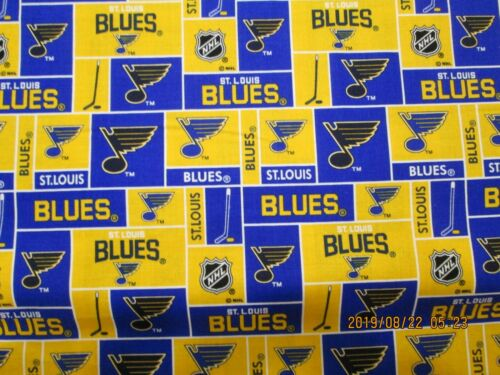 NHL ST LOUIS BLUES HOCKEY FABRIC 1//2  YARD BRAND NEW DESIGN 100/% COTTON