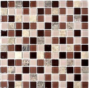 Détails sur Glasmosaik beige/marron Mix WC salle de bain Cuisine Mur  Carrelage Miroir wb67-m452 | 1 de coffre- afficher le titre d\'origine