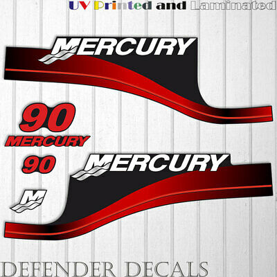 Mercury 90 HP Four Stroke outboard engine decal sticker RED set reproduction