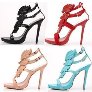 22e1e27f915 Womens Open Toe Angel Wings High Heels Strappy Buckle Gladiator ...