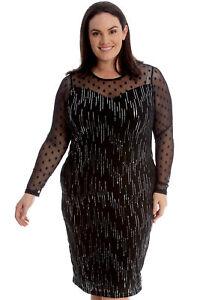 f59b01b5784fdf Details about Neu Damen Übergröße Kleid Frauen Midi Bodycon Chiffon Langarm  Pailletten Elegant
