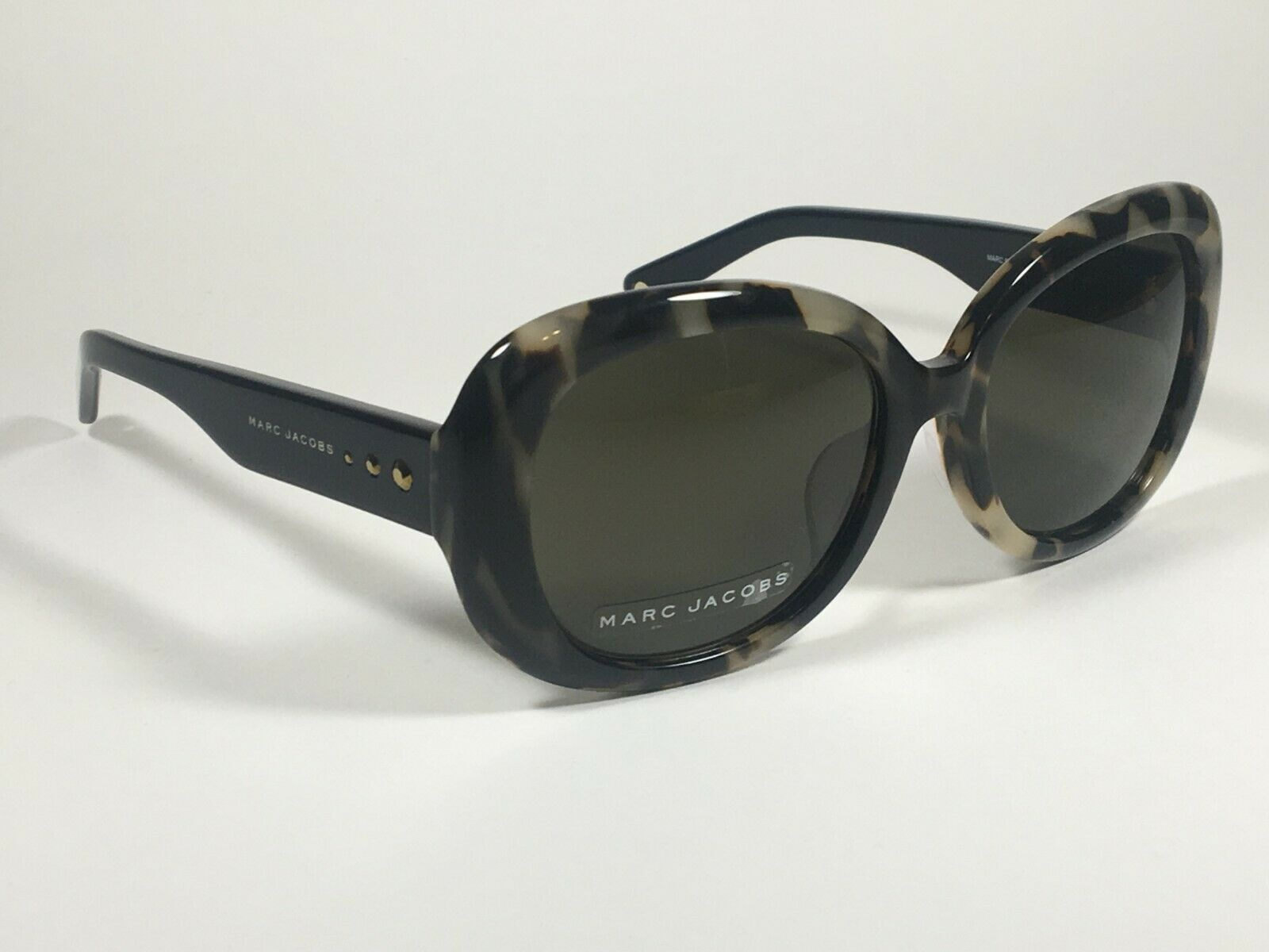 Authentic Marc Jacobs Oval MARC 97 Sunglasses Black Light Tortoise Gray Lens