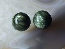 NATURAL Green Siberian SERAPHINITE AAA Gemstone 9.5mm Round Bead PAIR in Gem Box