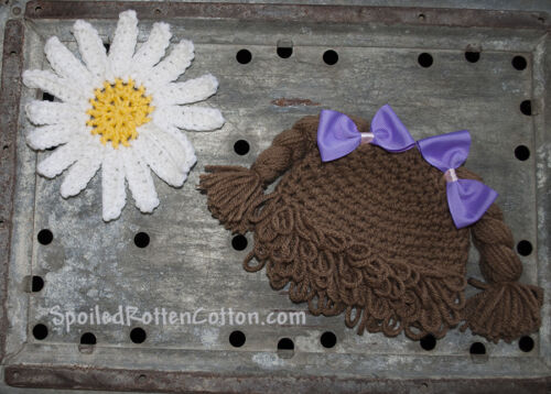 Cabbage Patch Kid Crochet Hat Wig With Pigtail Braids and Purple Bows on Top CPK