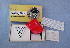 Crisloid-Bowling-Dice-Game-Chance-Vintage-Complete-Cup-Instructions-Score-Pad