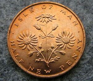ISLE-OF-MAN-1975-HALFPENNY-New-Penny-RAGWORT-FLOWER-UNC