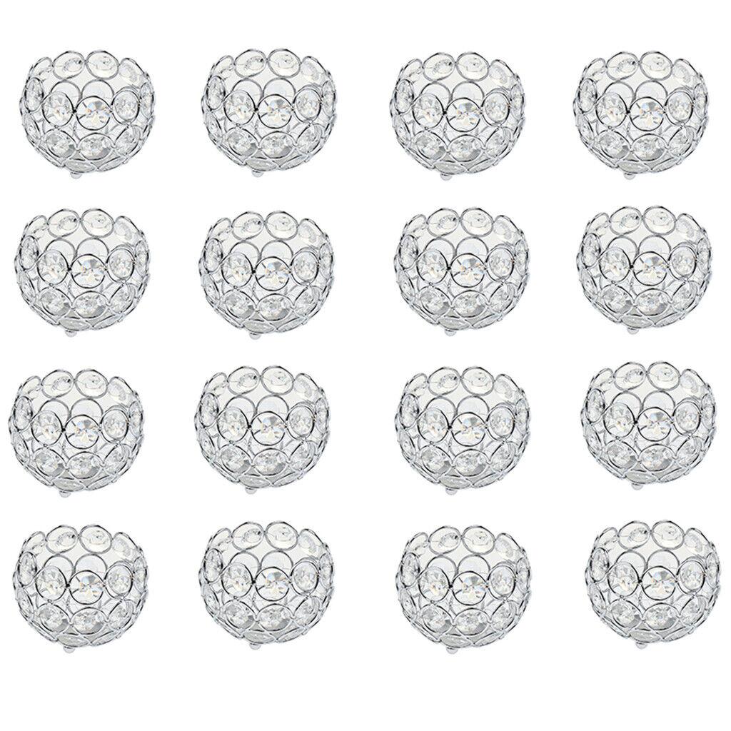 16x Crystal Candelabra Wedding Centerpiece Votive Tea Light Candle Holders
