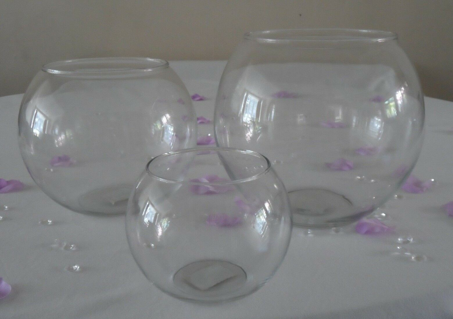 Clear Glass Flower Round Vase Fish Bowl Bubble Ball Table Centrepiece Wedding