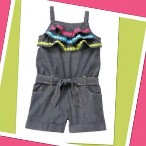 08daddf0291 Details about NWT 3T Gymboree RAINBOW CABANA Blue Chambray COTTON 1-piece  ROMPER ruffled Short