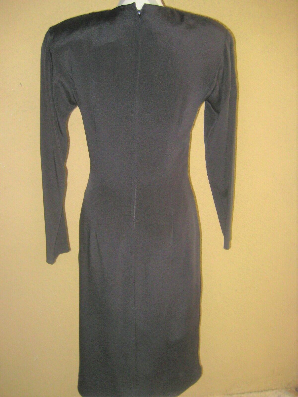 Vintage 1980's Travilla black drop waist LS lined… - image 9