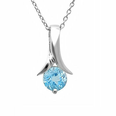 """1ct. Sky Blue Topaz Solitaire Pendant-Necklace in Sterling Silver  18"""" Chain"""