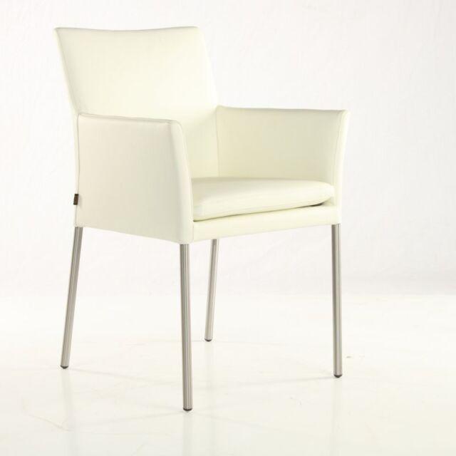 Armlehnstuhl Besucherstuhl Lederstuhl Rindsleder Weiss Six Stuhl Stühle BWCxrdoe