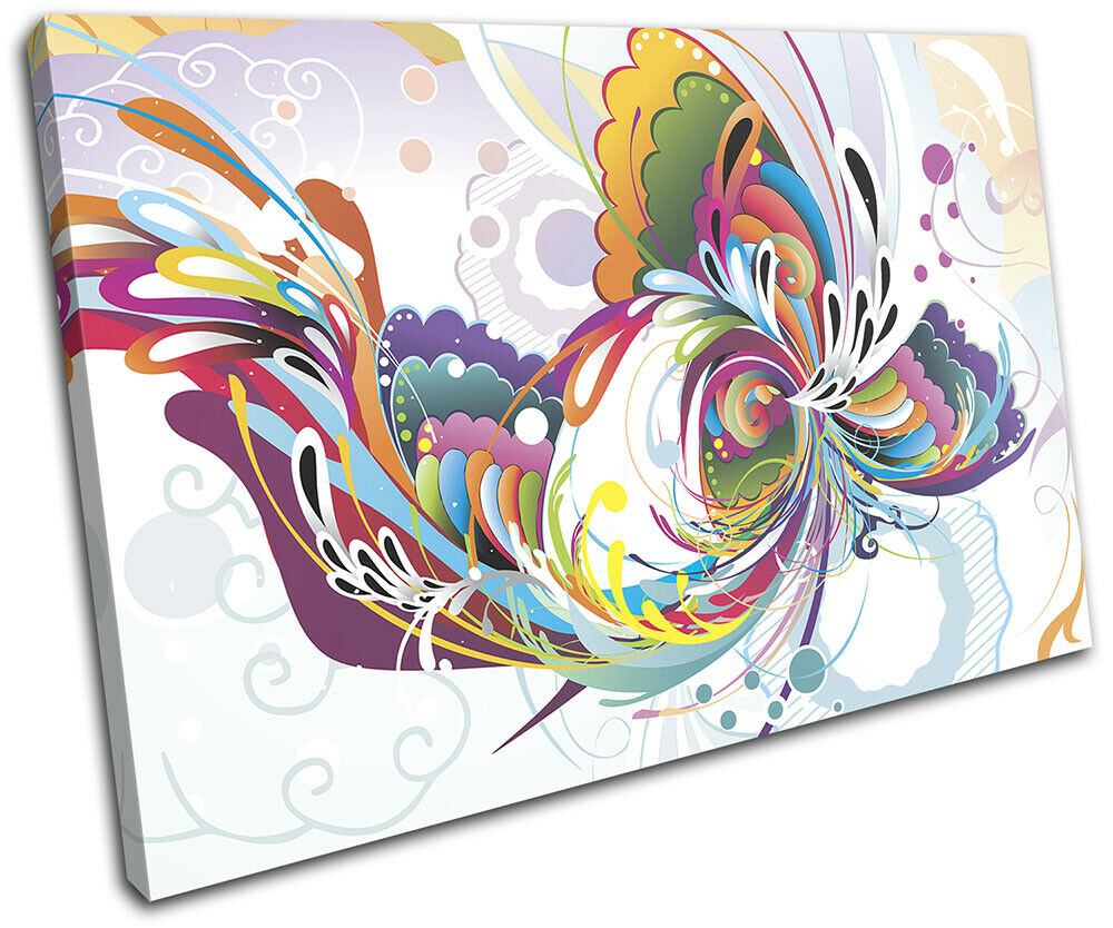 Floral Colourful Gift Swirls Abstract SINGLE TOILE murale ART Photo Print