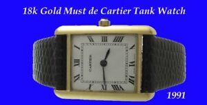 Mint-amp-elegant-18k-Gold-Cartier-Armbanduhr-amp-Box-1991