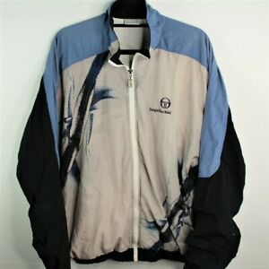 Vintage-Sergio-Tacchini-Windbreaker-Jacket-Mens-Spell-Out-Blue-Sz-46-XL