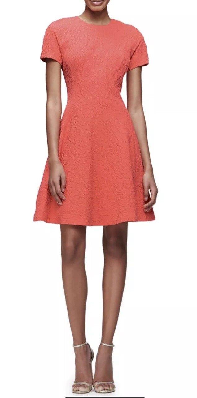 Lela pink Short-Sleeve Matelasse Fit-&-Flare Dress, Coral, 10