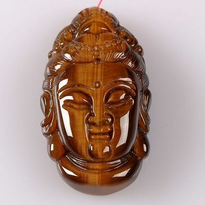 g2127 Golden tiger eye buddha kwan-yin pendant bead 45mm