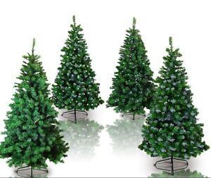 Alberi Di Natale Finti.Dettagli Su Albero Di Natale Artificiale Finto 120 150 180 210 Cm Pvc Led Verde Con Neve
