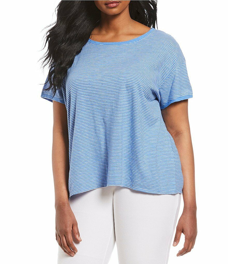 Woherren Eileen Fisher Blaubell Jewel Neck Tee Box Top Plus Größe  1X, 2X, 3X