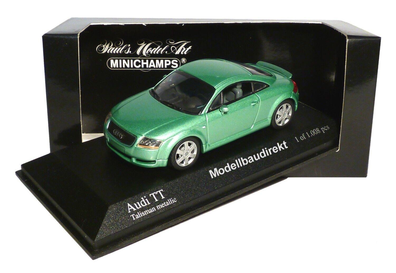 Audi TT en vert métallisé Bj 2000 1 43 Minichamps 430017251 NOUVEAU & NEUF dans sa boîte