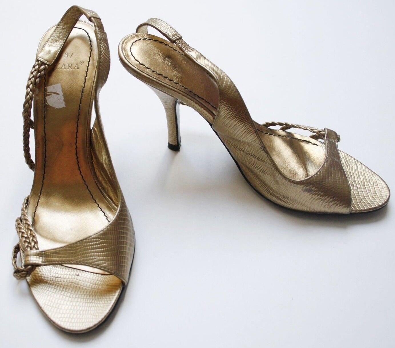 ZARA Stiletto Sandalen 37 Heels Metallic Gold Animal Braut Hochzeit Slingback