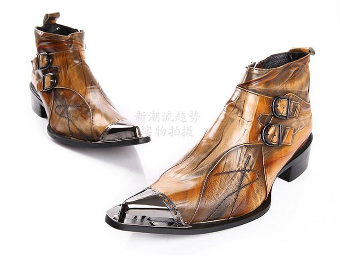 Para Hombre Británico Zapatos Botas al Tobillo Rojo Metal Cierre de Metal Rojo tachas en punta Retro Chic albergue df1aa2