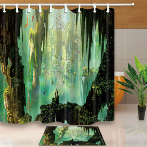 Flying Dragon and Cave Shower Curtain Bathroom Decor Fabric /& 12hooks 71*71inch