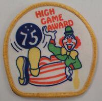 High Game 75 Award Bowling Clown Uniform Patch