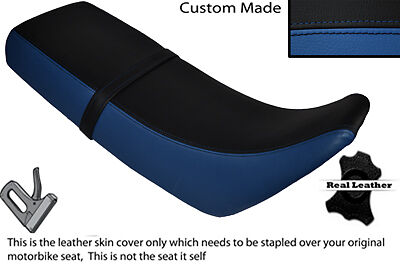 ROYAL BLUE AND BLACK CUSTOM FITS KAWASAKI KMX 125 89-04 DUAL LEATHER SEAT COVER