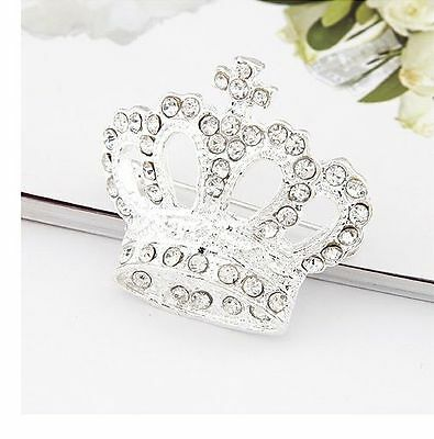 Dancing Girl Crown Silver Plated Full Shinging Crystal Brooches Christmas Gift