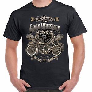 Mens-Biker-T-shirt-Whiskey-amp-Old-Vintage-Classic-Motorcycle-Bobber-Chopper-206