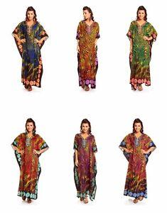 Ladies-Full-Length-Maxi-Kimono-Tunic-Kaftan-Dress-Tribal-Plus-Size