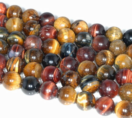 12MM MIX COLOR TIGER EYE GEMSTONE ROUND LOOSE BEADS 15.5/""