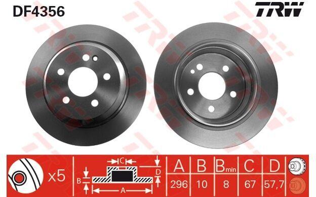 TRW Juego de 2 discos freno 296mm MERCEDES-BENZ VITO VIANO FUJIAN DAIMLER DF4356