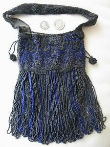 "Vintage Accessories Hearty Antique Cobalt Blue Black Long 5 1/2"" Fringe Lining Flapper Beaded Purse Belgium"