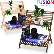 2 Tier Wooden Ladder Folding Book Shelf Stand Plant Flower Decoration Display
