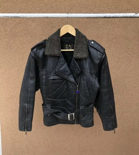 Størrelse Motorcykel 80's Lille Jakke Club Kvinder Vintage Pelle Læder 50XnTwq